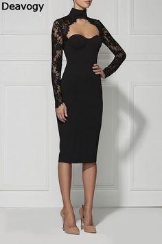2016 new fashion elegant and sexy women black long sleeve high neck lace evening party Dress