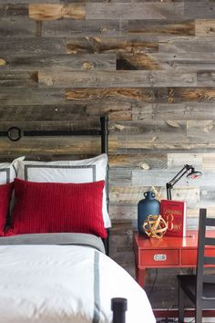 Teen boy bedroom with Stikwood wall covering.