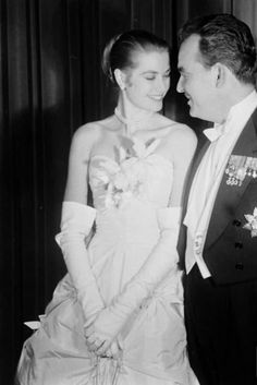 Grace Kelly and Prince Rainier III of Monaco at the Waldorf-Astoria Hotel in New York, the day after announcing their engagement, January 1956.