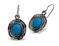 Shablool Sterling Silver Swirl Outline Oval Earrings With Opal