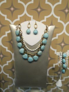 """20340-Resort 16"""" w/4""""extender two strand Necklace w/ removable pearls  30834 Earrings  5817- set of three 7 1/4"""" Bracelets"""