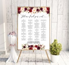 Burgundy Floral Alphabetical Seating Chart Template, Printable Wedding Seating Plan, up to 300 People, 24x36 Poster PDF Instant Download