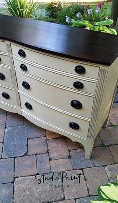 refinishing furniture Eight Drawer Painted Malcolm Dresser Annie Sloan Chalk Paint Old White General Finishes Java Gel Stain Refurbished Furniture, Repurposed Furniture, Rustic Furniture, Furniture Makeover, Diy Furniture, Modern Furniture, Dresser Makeovers, Furniture Online, Furniture Design