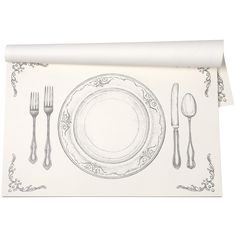 Kitchen Papers Perfect Setting Placemats - 30 Sheets ($29) ❤ liked on Polyvore featuring home, kitchen & dining, table linens, black and white table runner, dinner placemats, black and white placemats, paper place mats and black and white paper placemats