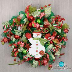 """""""Frosty's Warm Hug"""" wreath by Dazzled Doors & Decor"""