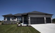 Search homes for sale in Lincoln and SE Nebraska. Find a real estate agent, get advice, home values, and neighborhood info from Woods Bros Realty. Grey Exterior, House Paint Exterior, Exterior House Colors, Exterior Homes, House Plans Mansion, My House Plans, Hand Hewn Beams, Stone Siding, Grey Houses