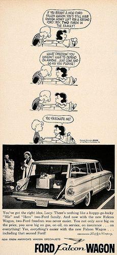 1960 Ford Falcon wagon ad feat. Peanuts