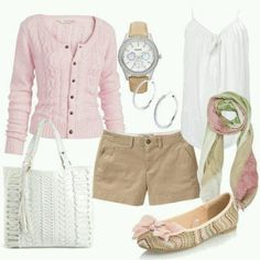 Pink white and khaki - great combination