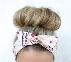 Cream Bandana Dolly Bow Wire Tie Up Headband