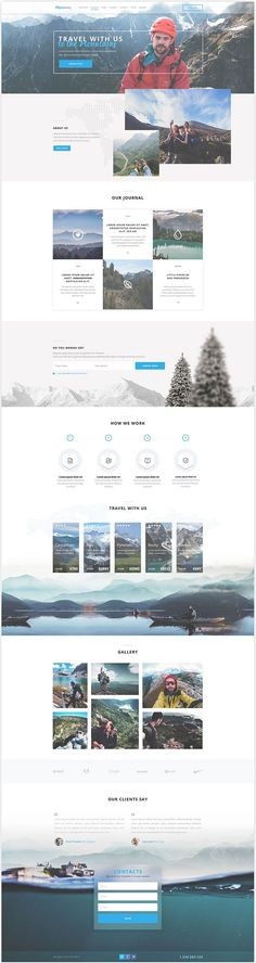 Mountains is a free PSD Travel Landing Page Template great for travel agency create… Graphisches Design, Book Design, Layout Design, Design Ideas, Journal Design, Design Patterns, Designs, Interface Web, Interface Design