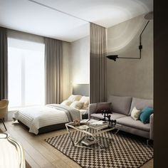 Download Modern Loft Studio Apartment Interior Design Ideas With Elegant Decoration For Small Modern Studio Apartment With Retractable Room Divider Uplight Wall Lamp Small Motif Checkerboard Rug Design Ideas HD Wallpapers