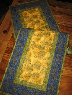 Quilted Table Runner French Country Blue & Yellow by TahoeQuilts