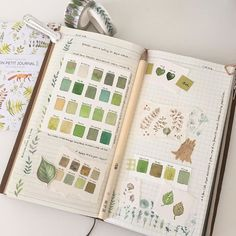 A few little 'green' pages, one of my favourite colours... #travelersnotebook…
