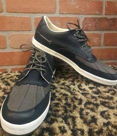 Polo Ralph Lauren Ramiro Men's Shoes Navy Blue Gray Duck Leather Canvas NEW 16 D #PoloRalphLauren #FashionSneakers