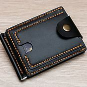 Кошелек с зажимом кожаный. Wallet with leather clip.