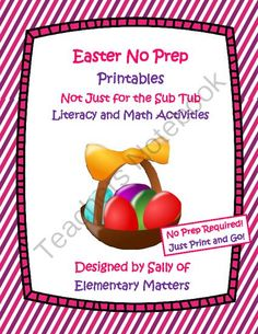 Easter No Prep Printables from Elementary Matters on TeachersNotebook.com -  (21 pages)  - No prep! Just download and print! Looking for some fun stuff to leave for the kids on a day you'll be out? Looking for something that won't interfere with the unit you're working on? Looking for something that's low prep but valuable a