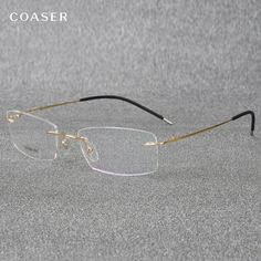 0cfebf18375 Super Light Titanium Eyeglasses Rimless Reading Glasses For Men Women Fit  Optical Prescription Clear Glasses Lens