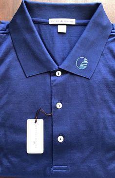 New Peter Millar Patriot Blue Circular Golf Club Logo Cotton Polo Shirt Size 2XL  | eBay