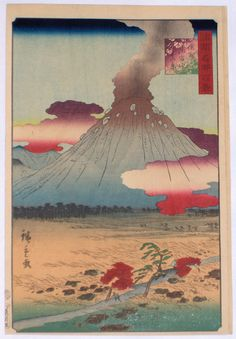 "A view of a smoking Mt Asama, Shinano Province, from Shokoku meisho hyakkei. The ""One Hundred Views of Famous Places in the Provinces."" The volcano erupted spectacularly in 1783 and emitted rocks in 1894 and 1900. Published by Uoei, Sheep 9 ( 1859 )"