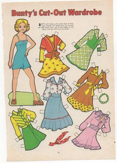 Vintage Paper Doll-  Bunty's cut out wardrobe- BUNTY Magazine
