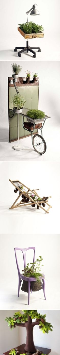 Recycled furniture as planters