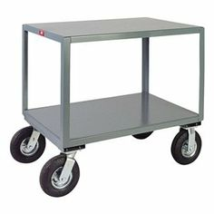 Mobile Table, Cap 1200 Lb, 2 Shelf, 24x30 by Jamco. $377.42. Mobile Table, Load Capacity 1200 lb., Overall Length 36 In., Overall Width 25 In., Overall Height 34 In., Caster Type 2 Rigid, 2 Swivel, Caster Material Semi-Pneumatic, Caster Size 8 In. x 3 In., Number of Shelves 2Material Welded Steel, Gauge 12, Color Gray, Powder Coat Finish, Includes 2 Shelves