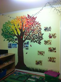 A family tree I made at my childcare centre. Coloured paper, scissors and blu ta… A family tree I made at my childcare centre. Coloured paper, scissors and blu tac. The autumn leaves and grass to the right are the real thing laminated! Classroom Family Tree, Paper Tree Classroom, Family Tree For Kids, Trees For Kids, Classroom Art Projects, Classroom Walls, Family Tree Wall, Preschool Classroom, Classroom Ideas