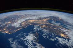 """Space Station Flyover of the Mediterranean - Expedition 46 flight engineer Tim Peake of the European Space Agency (ESA) shared this stunning nighttime photograph with his social media followers on Jan. 25, 2016, writing, """"Beautiful night pass over Italy, Alps and Mediterranean."""""""