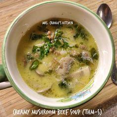Creamy Mushroom Beef Soup- THM Mrs. Criddle's Kitchen