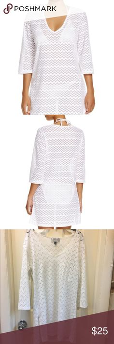 J. Valdi Zig Zag Tunic Swim Cover-Up Super cute white three quarter sleeve cover up. Great condition and only worn a few times. Purchased from Bloomingdales for 48.00. Brand is J.Valdi. Size medium J.Valdi Swim Coverups
