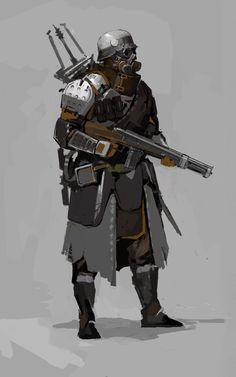 ArtStation - old work_ gas attack, Konstiantyn Syvolotskyi Fantasy Character Design, Character Design Inspiration, Character Concept, Character Art, Steampunk Characters, Sci Fi Characters, Weapon Concept Art, Armor Concept, Steampunk Armor