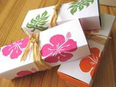 Tropical Hibiscus Island Style Wedding Favor Boxes, Hawaii Wedding Favor