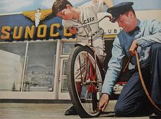 1950s Sunoco Vintage Gas Station Service ADVERTISEMENT Attendant Bicycle Air Pump Photo | Flickr - Photo Sharing!