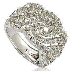 Suzy Levian Pave Cubic Zirconia Sterling Crisscross Sterling Silver Ring