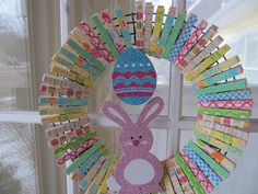 Easter wreath with clothes pins and washi tape by Jennifer