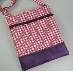 Sac pochette bandoulière en coton fond à motifs géométriques
