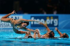 Thailand compete in the Synchronized Swimming Duet Technical preliminary round on day two of the 15th FINA World Championships at Palau Sant Jordi on July 21, 2013 in Barcelona, Spain.