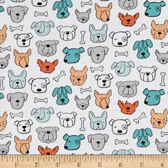 Dog Lover Dog Portrait White from @fabricdotcom  Designed by Anne was Here for Clothworks, this dog themed cotton print is perfect for apparel, quilting and home decor accents. Colors include aqua, seafoam, peach, orange, grey, black and white.