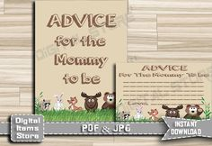 Advice For Mommy To Be Woodland - Advice For Parents To Be - Advice Cards - Advice Sign - Baby Shower Advice, Woodland - INSTANT DOWNLOAD by DigitalitemsShop on Etsy