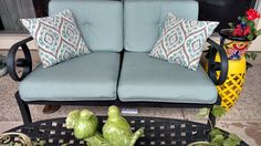Outdoor patio furniture cushions recovered in Sunbrella Canvas Spa upholstery fabric.