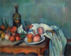 Paul Cézanne, Still Life with Onions, 1896-1898. Oil on canvas.  26 x 32 ¼ inches. © RMN (Musée d'Orsay)
