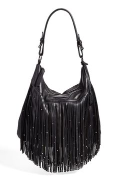 Sparkling studs on this leather handbag add a new spin to the beloved fringe trend.