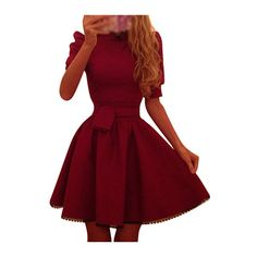 Rotita Puff Sleeve Wine Red Belted Skater Dress ($19) ❤ liked on Polyvore featuring dresses, wine red, vintage day dress, half sleeve dress, red dress, elbow sleeve dress and mini dress