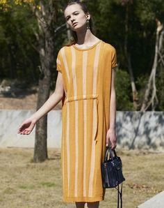 #AdoreWe #VIPme Shift Dresses - Designer SIKYA Yellow Striped Belted Knitted Midi Dress - AdoreWe.com