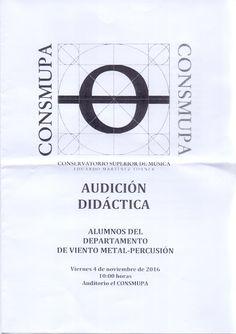 Audición didáctica Alumnos departamento de viento-metal-percusión. Viernes 4 de noviembre de 2016.