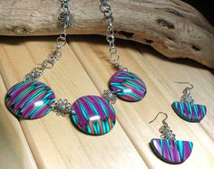 Flower Trio - OOAK necklace and FREE matching earrings in Polymer Clay by Chris Pellow