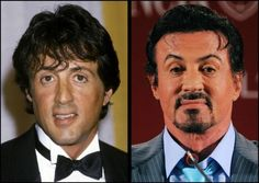 Aging... Sylvester Stallone  Looked like a sad sack then, looks like a sad bag now! Age can't improve some things/people!