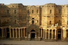 Bosra, Syria - once the capital of the Roman provincia of Arabia, was an important stopover on the ancient caravan route to Mecca. A magnificent 2 the century Roman theatre, early Christian ruins and several mosques are found within its great walls.