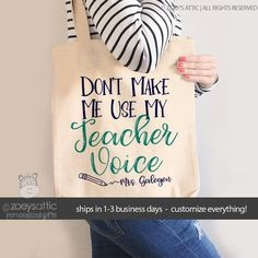 teacher tote bag - adorable teacher tote for kindergarten, first grade - teacher gift don't make me use my teacher voice - Best Picture For cheap DIY decorating For Your Taste You are looking for something, and it is goi - Great Teacher Gifts, Teacher Appreciation Gifts, My Teacher, Cute Gifts, Christmas Presents For Teachers, Survival Kit Gifts, Teacher Tote Bags, First Year Teaching, First Grade Teachers