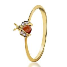 ooh Dear Ladybug 18K gold diamond natural wine Redstone